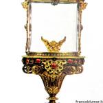 """Ostensorio """"Pontificale"""" - sec. XVI lamina in oro e argento sbalzata e cesellata, smalti, cristallo di rocca"""