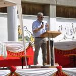 Franco Blumer, durante la presentazione del restauro,