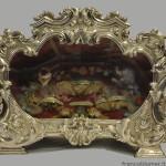 reliquiario san faustino argento, legno, vetro, seta, ossa