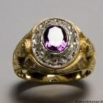 Anello vescovile con ametista e diamanti