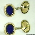 Gemelli ovali in oro inciso e lapis