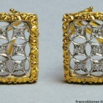 yellow gold earrings engraved, diamond