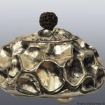 """""""Scatola per il te"""" in argento 925 gr. 704 interno dorato diametro cm 17"""