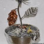 Saliera:Vaso di rose, argento sbalzato e cesellato