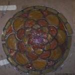 vetrata legata a piombo, prima del restauro, Tirano, Santuario