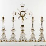 candelieri e croce in cristallo di rocca, metallo dorato sec XVIII