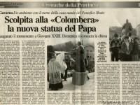 """L'Eco di Bergamo: Scolpita alla """"Colombera"""" la nuova statua del Papa."""